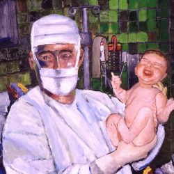 Obstetrician baby doctor holding new born delivery