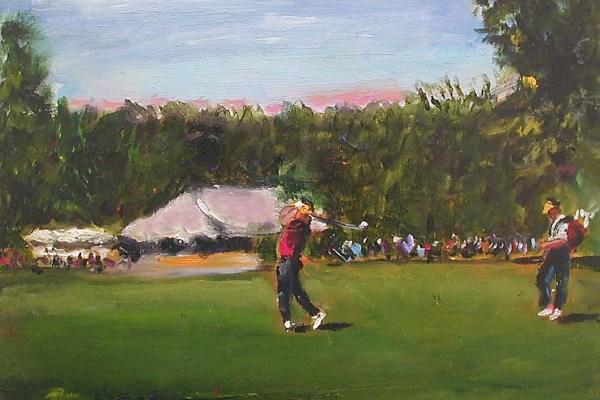 Golfer Swings for Par