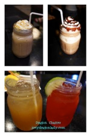 Caramel and Mocha Frappocino Lemonade Iced Tea and Strawberry Juice