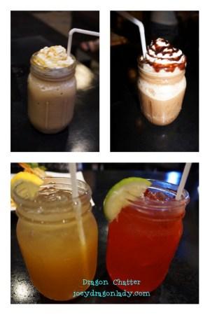 Caramel and Mocha Frappocino Lemonade Iced Tea and Strawberry Juice