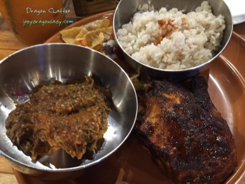 Gringo Southern Fried Chicken with eggplant and rice side
