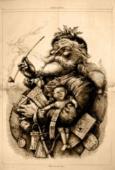 In the early part of the 20th Century, Santa owed much of his appearance to Thomas Nast's painting of him in Harper's Bazaar, which gave him a considerably more elfin appearance that stuck for several decades, but also gave him the familiar gut and pipe.