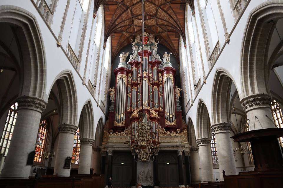 The 1738 Müller organ at the Grote Kerk (The Great Church) in Haarlem, Netherlands.
