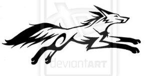 tribal fox drawing-kURV