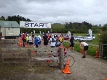 The start of the half marathon run. Still rainy and windy.
