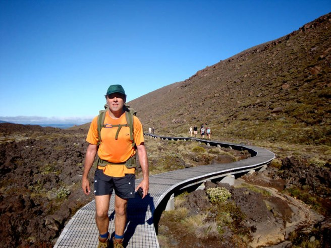 Gerry on the wooden path on his way to climb Mt Ngauruhoe.
