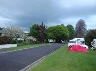 The Te Kuiti campsite on the pavement opposite houses.