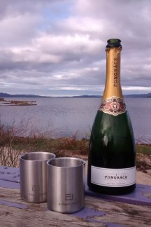 The best part - a celebratory bubbly next to the lake.