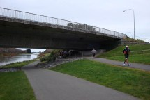 Passing under the Manawatu Bridge.