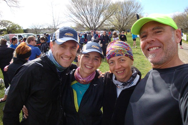 All smiles at the start of the race: Johann and Nettie who joined us again for this event, moi and Gerry.