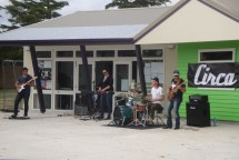 A band on the school grounds about 1.5km before the finish.