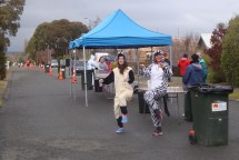 Some entertainment provided by the can-can onesies near the 30k mark.