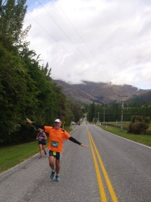 One of the short sections on a sealed road, running along the Arrowtown Lake Hayes Road towards the lake.
