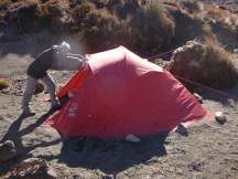 Pitching the tent in the gale winds proved quite challenging.