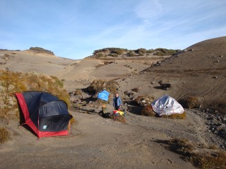 Breaking up camp, with the tent and flysheet spread out to dry.
