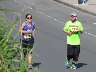 My brother willing me to finish in the just-more-than-hal marathon last summer