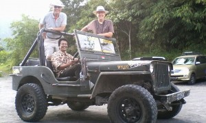 With American Chris & Tom ready for Merapi Jeep Adventure