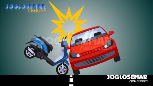 ilustrasijs kecelakaan mobil dengan motor