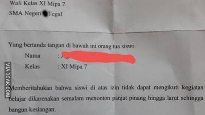 Viral Surat Izin Tidak Masuk Sekolah Karena Menonton Panjat