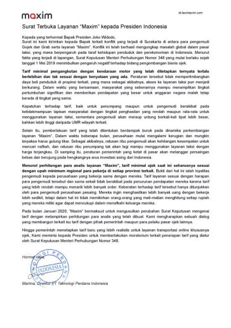 Surat Terbuka Layanan Maxim kepada Presiden Indonesia