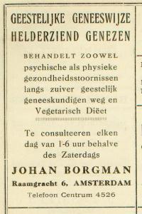 Een advertentie voor Borgmans genezerspraktijk.