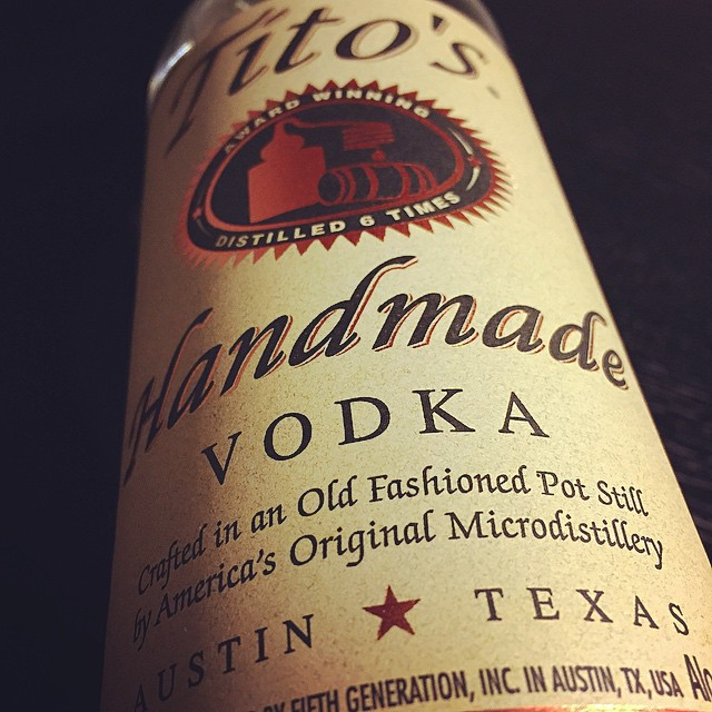 A bottle of Tito's handmade vodka