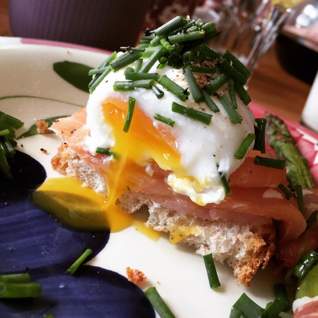 Perfectly poached egg on smoked salmon