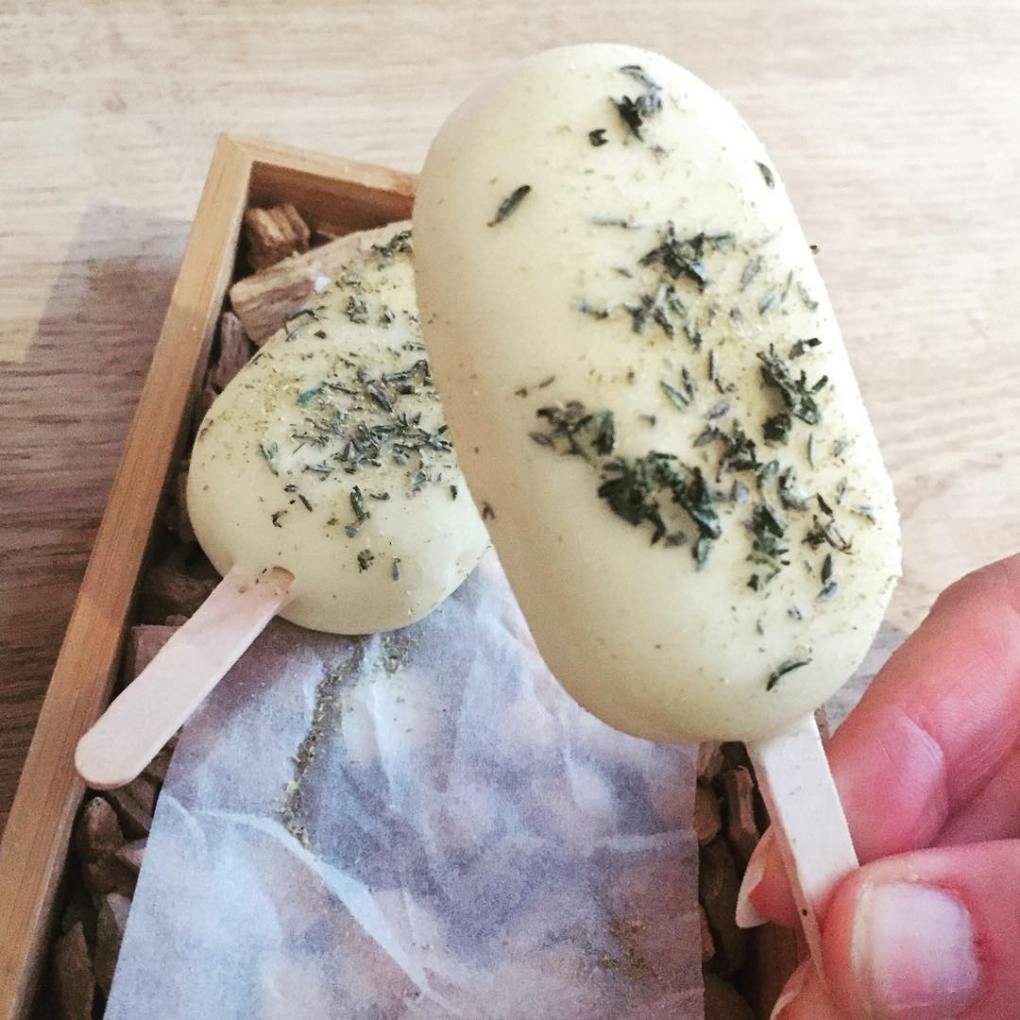 Goat's milk. lemon curd and lemon verbena popsicle