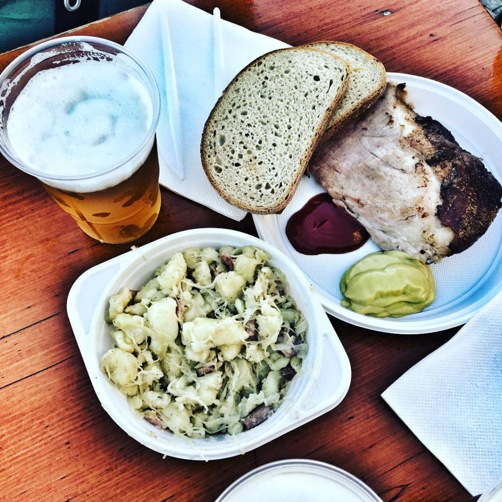 prague ham beer and halusky
