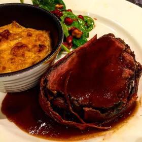 Sauce Demi-Glace on beef tenderloin