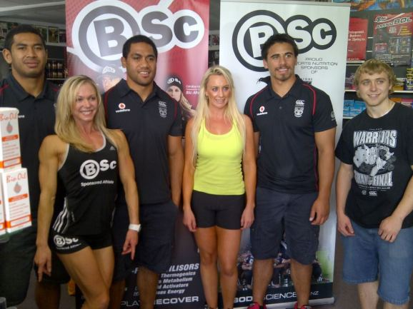 with the vodafone Warriors at the Nutrition Plus Bodyscience tasting