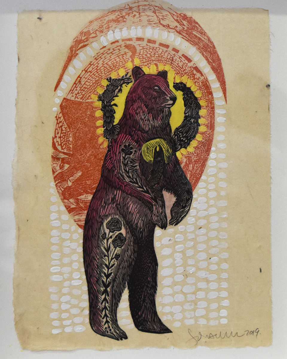 Decorated Bear in Red Widens Mixed Media Collage by Johanna Mueller