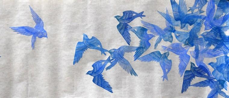 Flock I Print Scroll Detail Image by Johanna Mueller