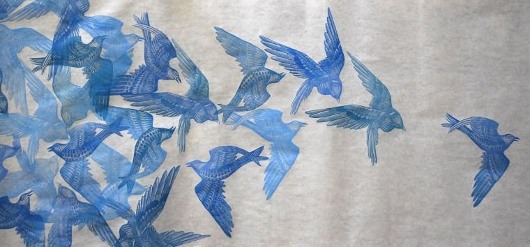 Flock II Print Scroll Detail Image by Johanna Mueller