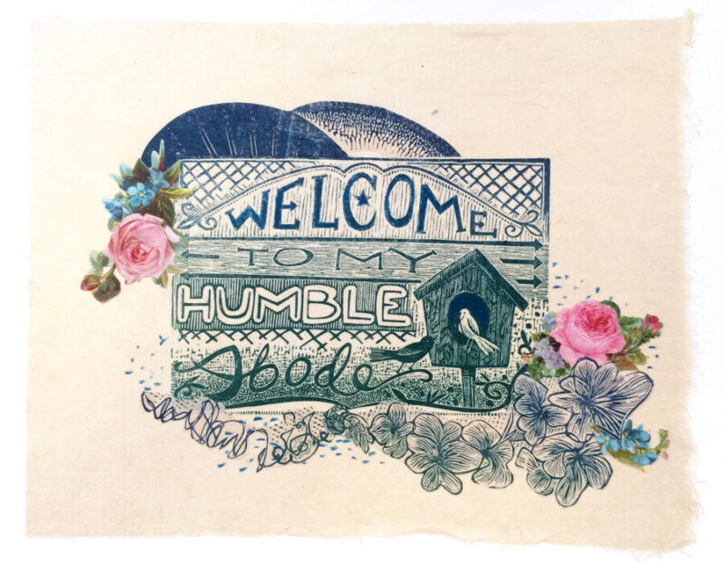 Humble Abode Mixed Media Collage by Johanna Mueller
