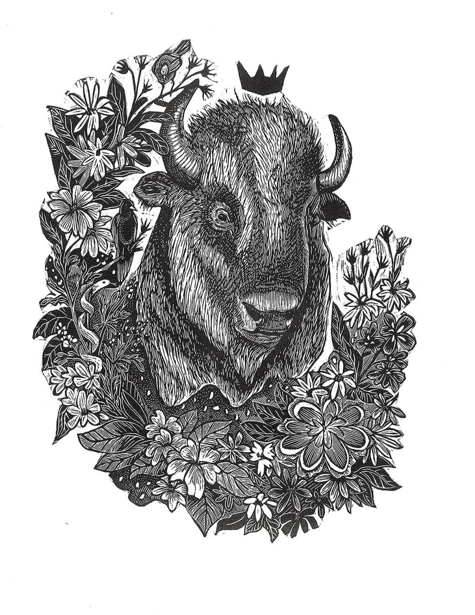 Trophy III Bison Print Edition by Johanna Mueller