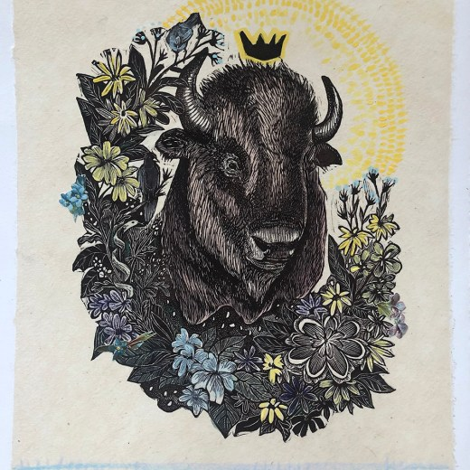 Bison and Blue Birds Mixed Media Collage by Johanna Mueller