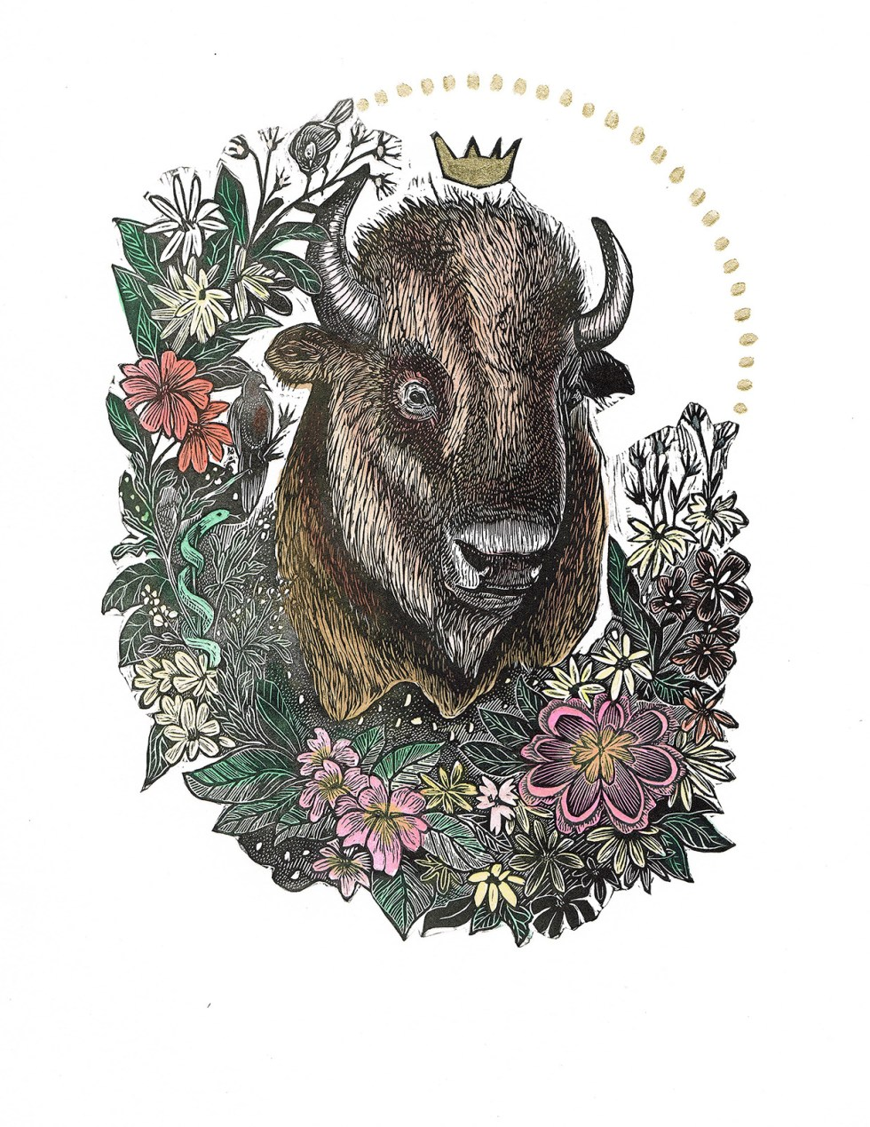Trophy III Bison Hand Colored Edition by Johanna Mueller