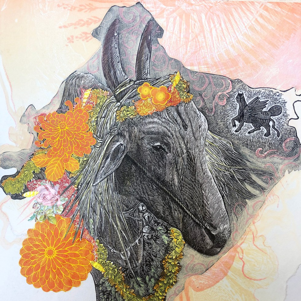 Year of the Ox 2021 Mixed Media Collage by Johanna Mueller