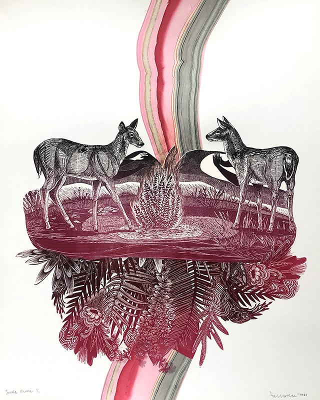 Smoke Plume Mixed Media Print by Johanna Mueller