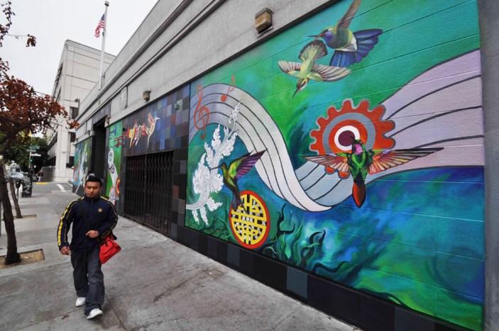 Hummingbird mural Civic Center side