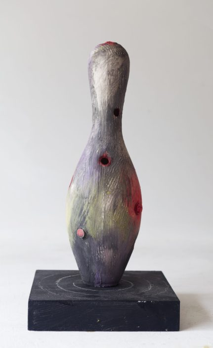 Texture black red bowling pin