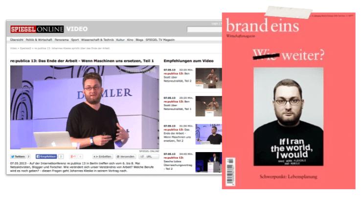 johannes kleske bei spiegel online und auf dem brand eins cover