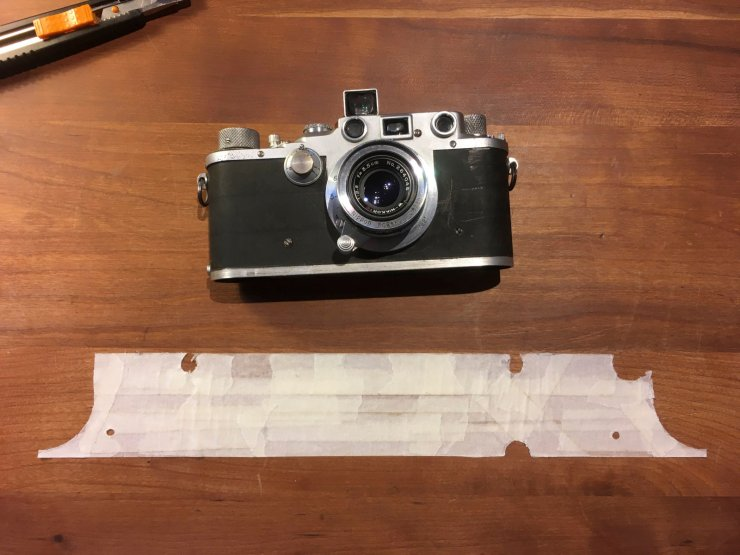 Leica IIIc with tape template