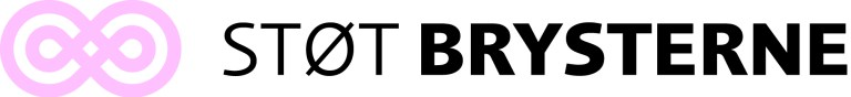 Lyserødt logo - STØT BRYSTERNE sort skrift