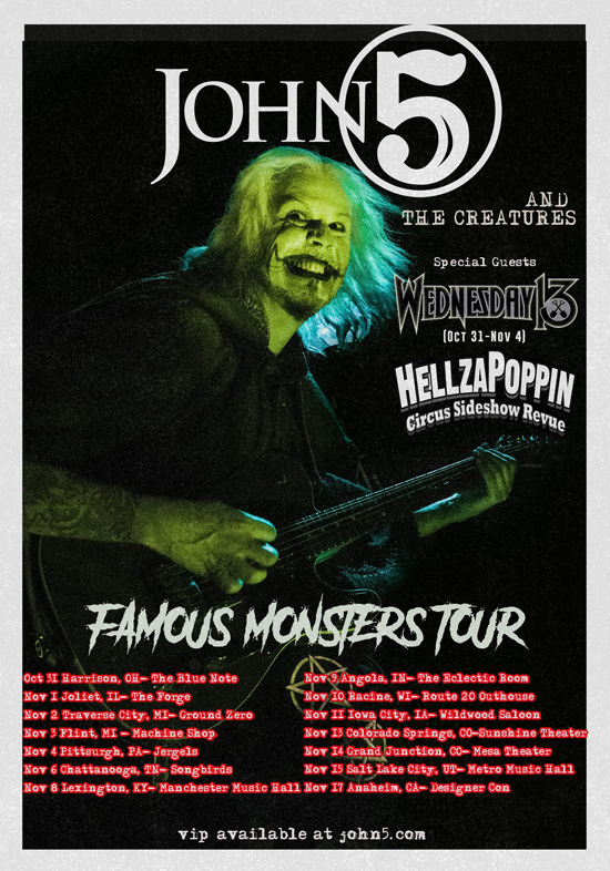 John 5 and The Creatures Famous Monsters tour poster