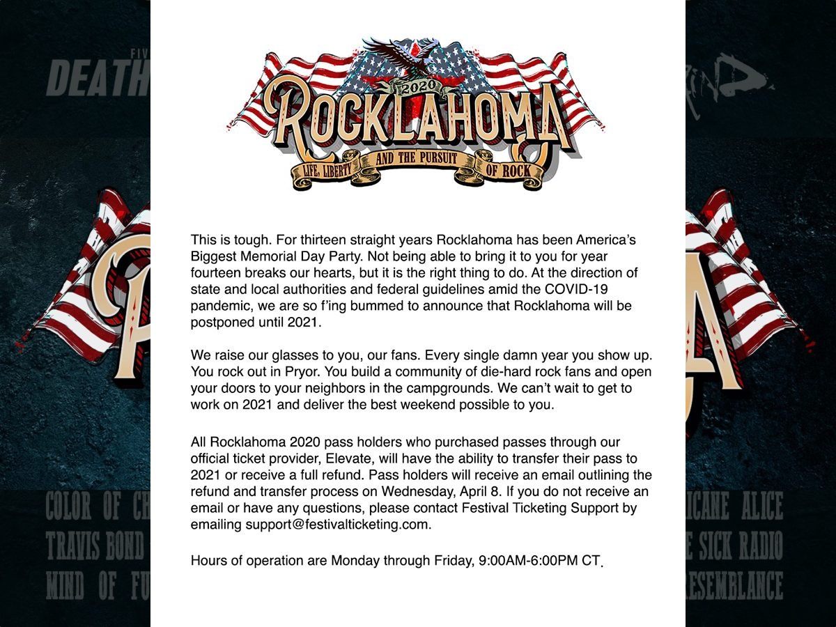 Rocklahoma 2020 postponed John 5 and the Creatures
