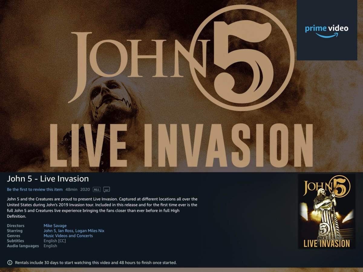 Live Invasion HD concert film Amazon Prime John 5 and the Creatures