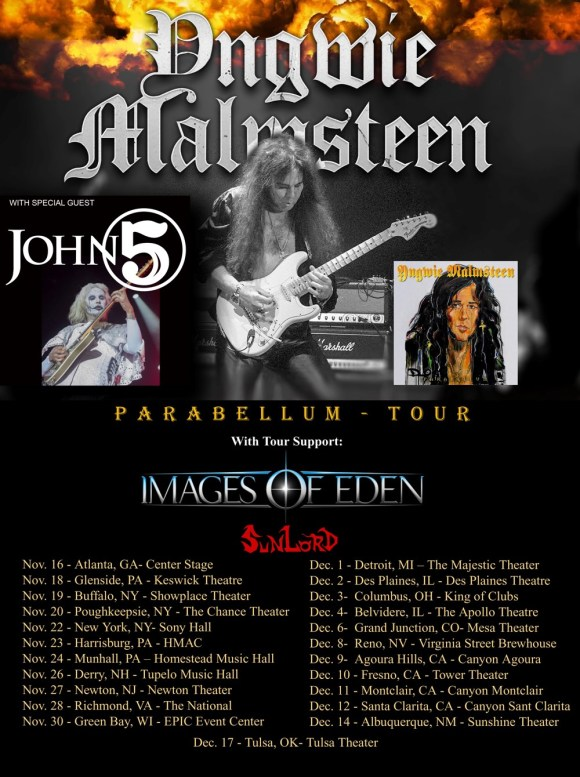 Yngwie Malmsteen tour poster with John 5 support 2021