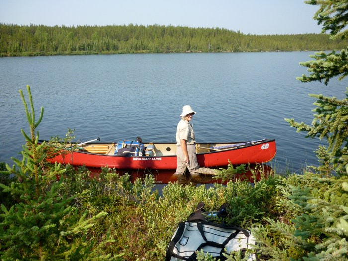 Loading the canoe at the end of the portage from un-named lake #2 to un-named lake #3